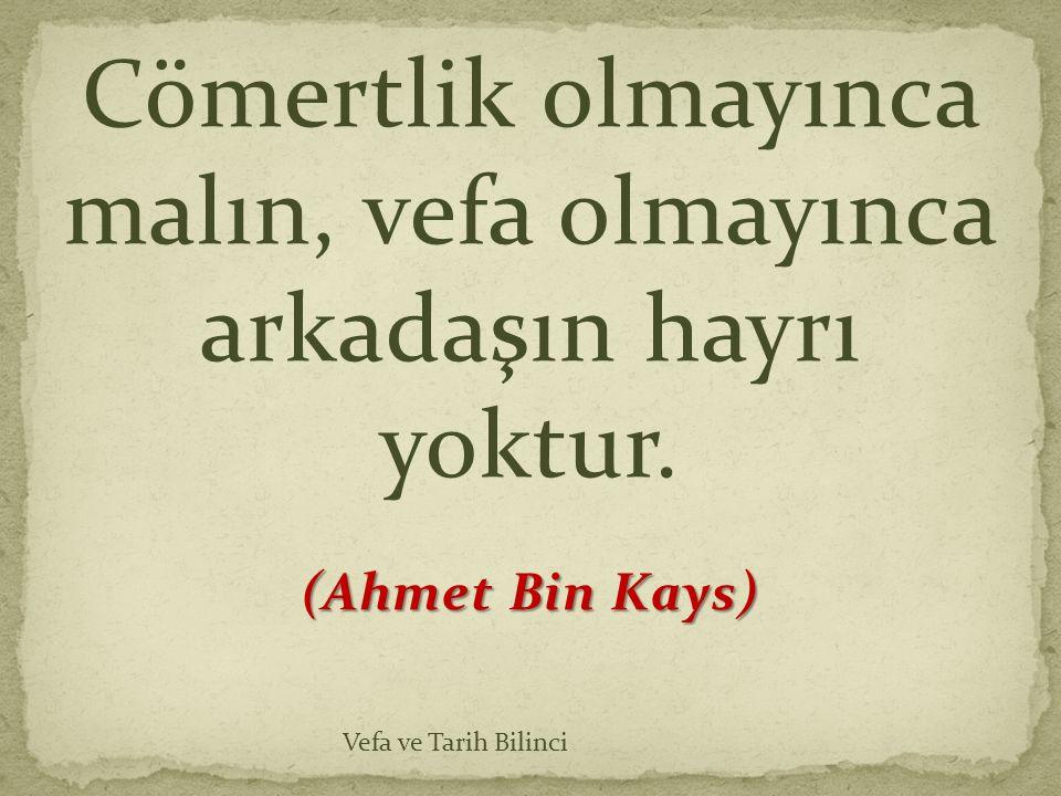 Cömertlik olmayınca malın, vefa olmayınca arkadaşın hayrı yoktur. (Ahmet Bin Kays) Vefa ve Tarih Bilinci