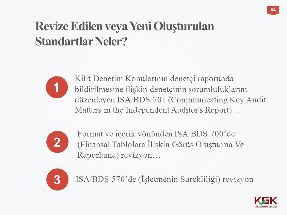 Revize Edilen veya Yeni Oluşturulan Standartlar Neler? Kilit Denetim Konularının denetçi raporunda bildirilmesine ilişkin denetçinin sorumluluklarını