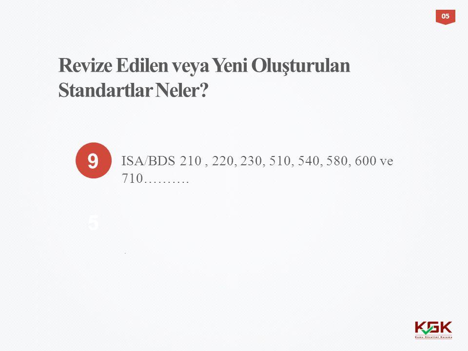0505 9 5 ISA/BDS 210, 220, 230, 510, 540, 580, 600 ve 710………. Revize Edilen veya Yeni Oluşturulan Standartlar Neler?.
