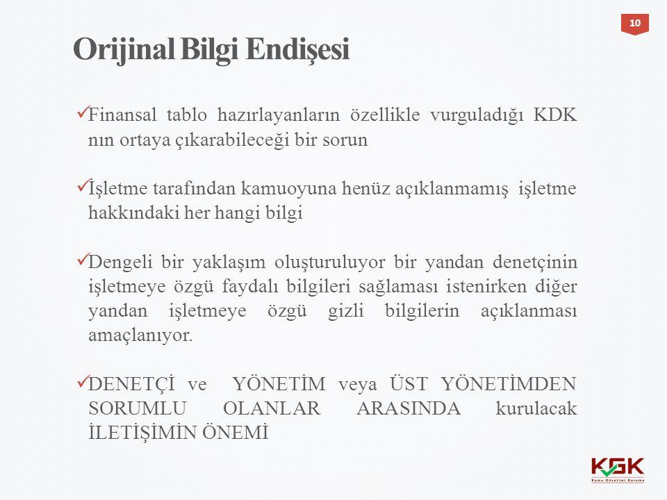 Finansal tablo hazırlayanların özellikle vurguladığı KDK nın ortaya çıkarabileceği bir sorun İşletme tarafından kamuoyuna henüz açıklanmamış işletme h
