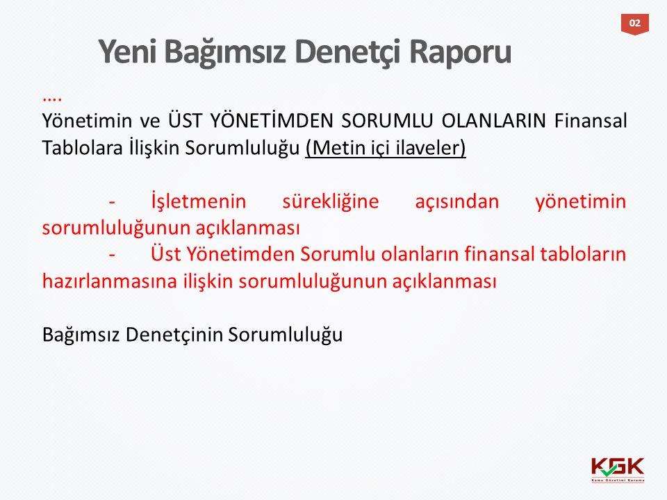 …. Yönetimin ve ÜST YÖNETİMDEN SORUMLU OLANLARIN Finansal Tablolara İlişkin Sorumluluğu (Metin içi ilaveler) - İşletmenin sürekliğine açısından yöneti