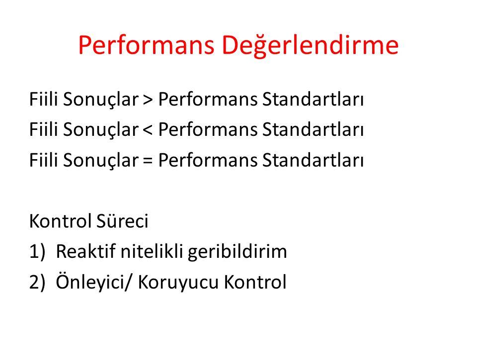 Performans Değerlendirme Fiili Sonuçlar > Performans Standartları Fiili Sonuçlar < Performans Standartları Fiili Sonuçlar = Performans Standartları Ko