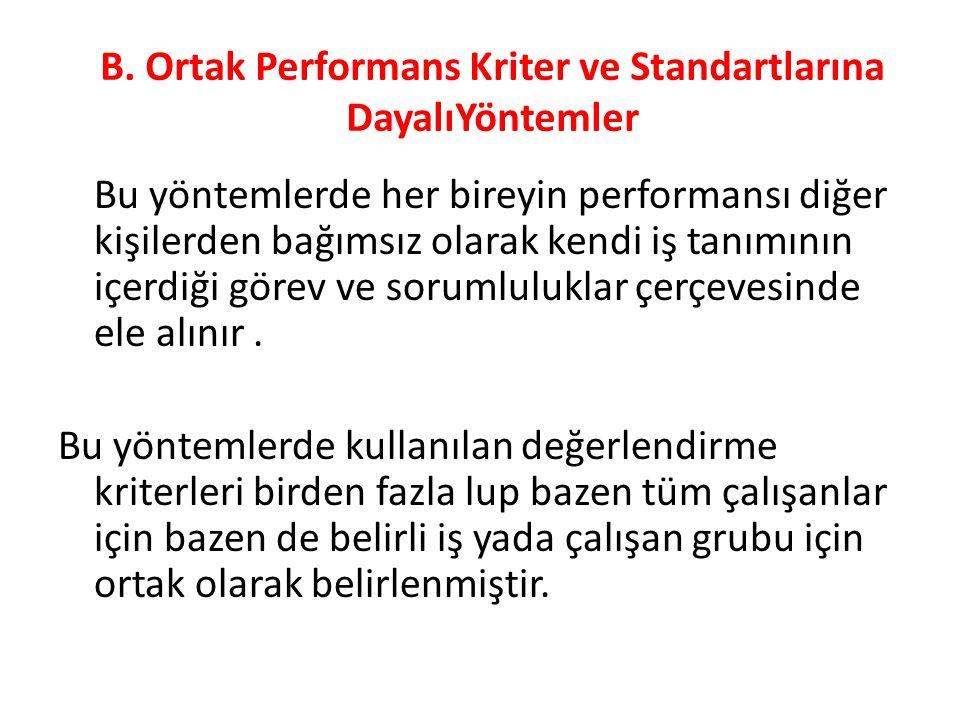 B. Ortak Performans Kriter ve Standartlarına DayalıYöntemler Bu yöntemlerde her bireyin performansı diğer kişilerden bağımsız olarak kendi iş tanımını