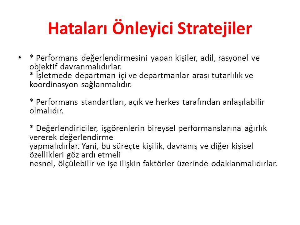 Hataları Önleyici Stratejiler * Performans değerlendirmesini yapan kişiler, adil, rasyonel ve objektif davranmalıdırlar. * İşletmede departman içi ve