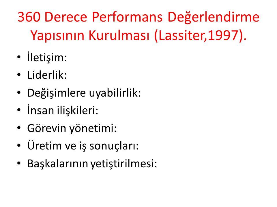 360 Derece Performans Değerlendirme Yapısının Kurulması (Lassiter,1997). İletişim: Liderlik: Değişimlere uyabilirlik: İnsan ilişkileri: Görevin yöneti