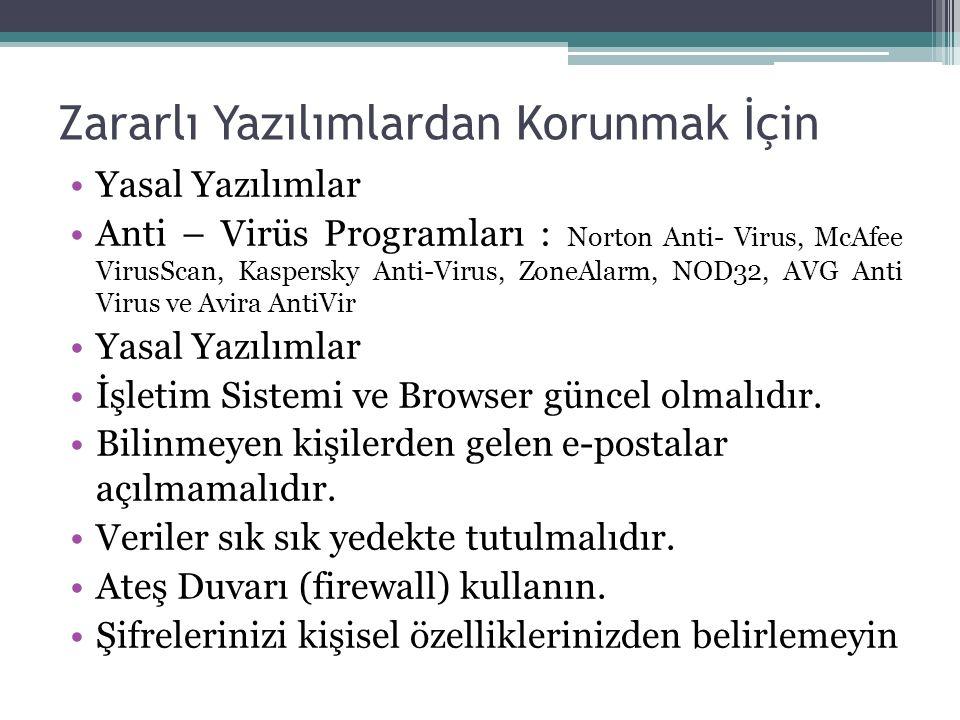 Zararlı Yazılımlardan Korunmak İçin Yasal Yazılımlar Anti – Virüs Programları : Norton Anti- Virus, McAfee VirusScan, Kaspersky Anti-Virus, ZoneAlarm, NOD32, AVG Anti Virus ve Avira AntiVir Yasal Yazılımlar İşletim Sistemi ve Browser güncel olmalıdır.
