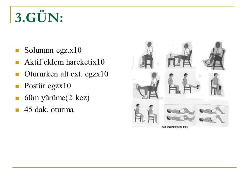 3.GÜN: Solunum egz.x10 Aktif eklem hareketix10 Otururken alt ext. egzx10 Postür egzx10 60m yürüme(2 kez) 45 dak. oturma