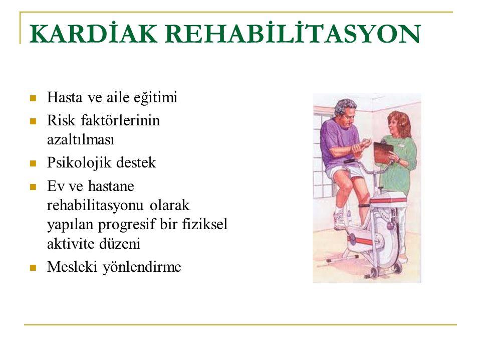 KARDİAK REHABİLİTASYON Hasta ve aile eğitimi Risk faktörlerinin azaltılması Psikolojik destek Ev ve hastane rehabilitasyonu olarak yapılan progresif bir fiziksel aktivite düzeni Mesleki yönlendirme
