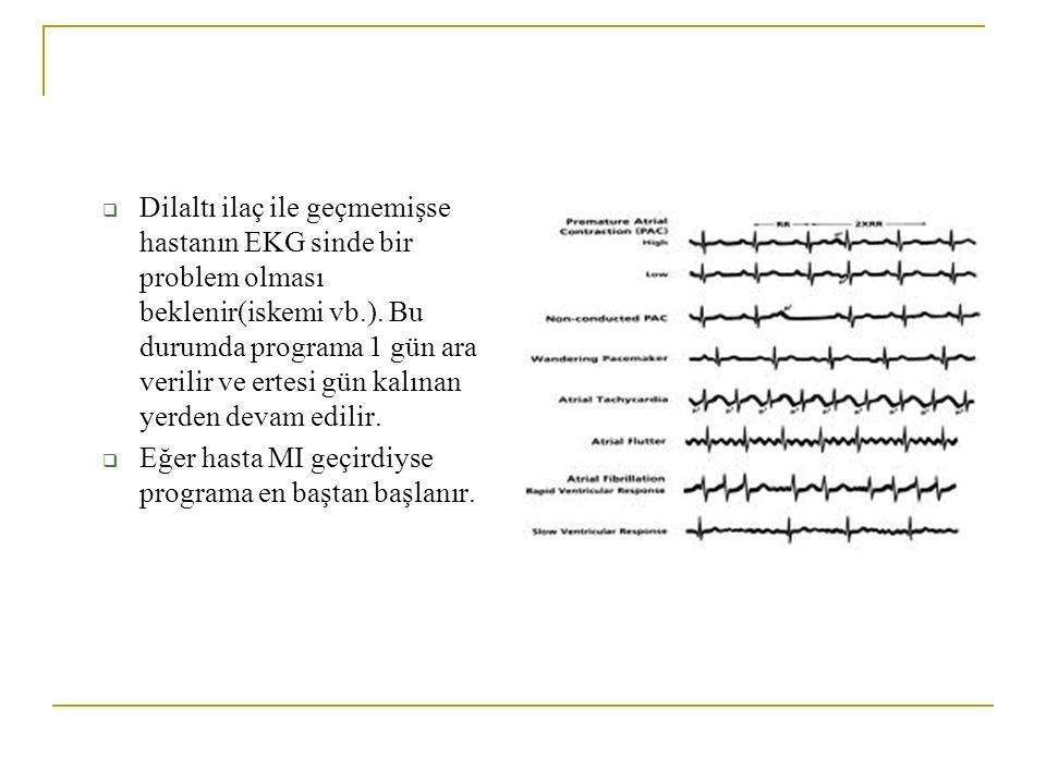  Dilaltı ilaç ile geçmemişse hastanın EKG sinde bir problem olması beklenir(iskemi vb.). Bu durumda programa 1 gün ara verilir ve ertesi gün kalınan