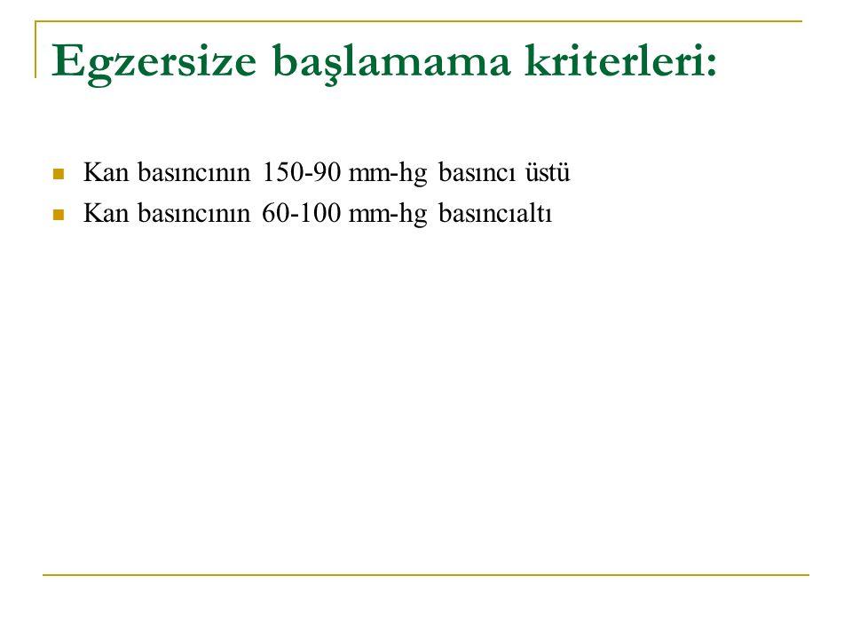 Egzersize başlamama kriterleri: Kan basıncının 150-90 mm-hg basıncı üstü Kan basıncının 60-100 mm-hg basıncıaltı