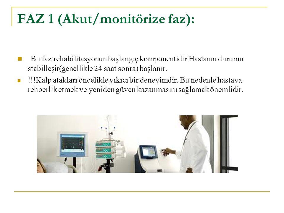 FAZ 1 (Akut/monitörize faz): Bu faz rehabilitasyonun başlangıç komponentidir.Hastanın durumu stabilleşir(genellikle 24 saat sonra) başlanır.