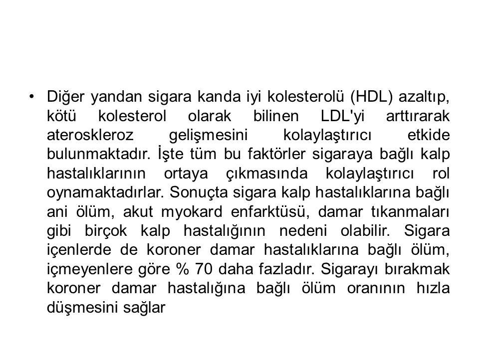 Diğer yandan sigara kanda iyi kolesterolü (HDL) azaltıp, kötü kolesterol olarak bilinen LDL'yi arttırarak ateroskleroz gelişmesini kolaylaştırıcı etki