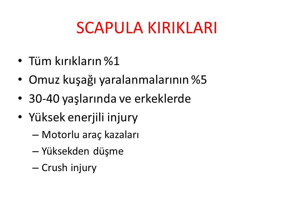 SCAPULA KIRIKLARI Tüm kırıkların %1 Omuz kuşağı yaralanmalarının %5 30-40 yaşlarında ve erkeklerde Yüksek enerjili injury – Motorlu araç kazaları – Yü