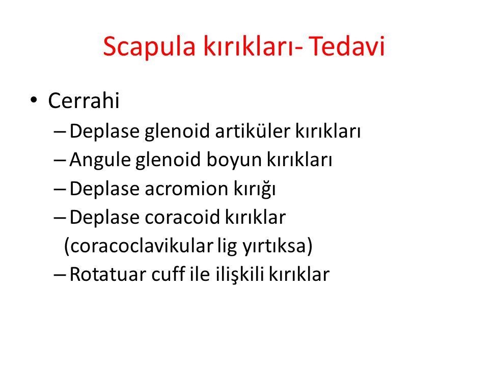 Scapula kırıkları- Tedavi Cerrahi – Deplase glenoid artiküler kırıkları – Angule glenoid boyun kırıkları – Deplase acromion kırığı – Deplase coracoid