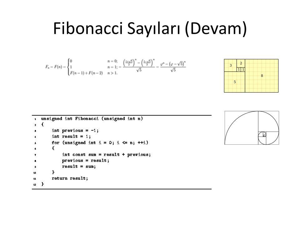 Fibonacci Sayıları (Devam)
