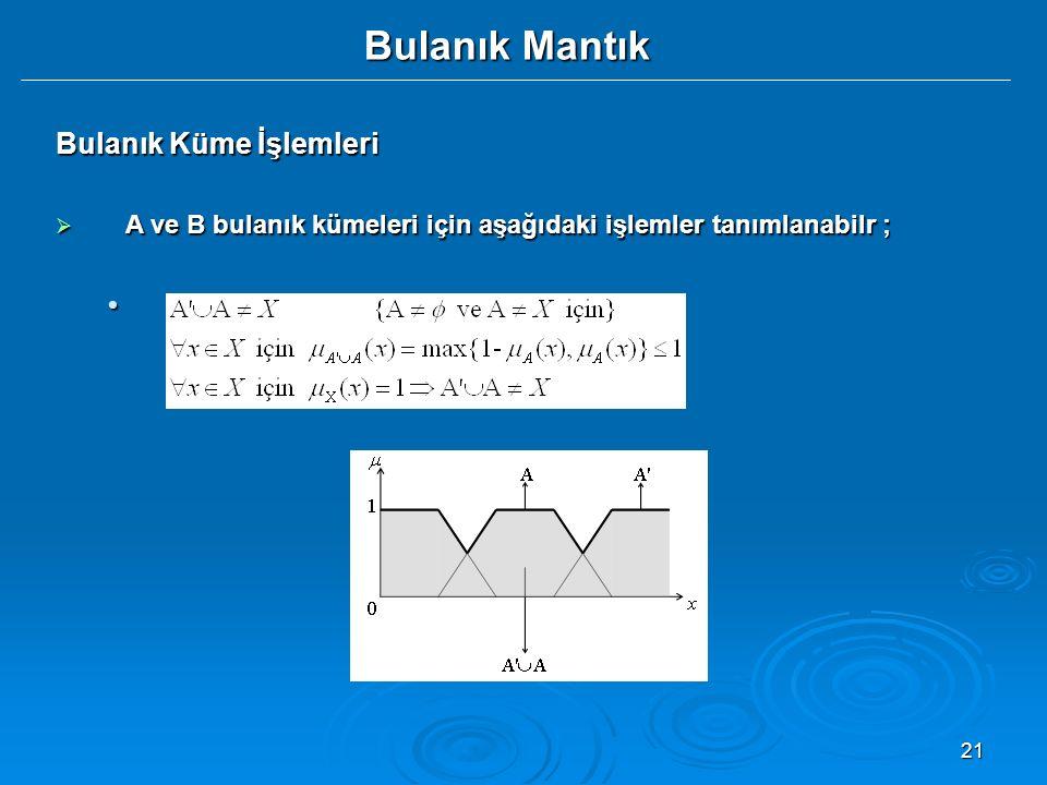 21 Bulanık Mantık Bulanık Küme İşlemleri  A ve B bulanık kümeleri için aşağıdaki işlemler tanımlanabilr ;