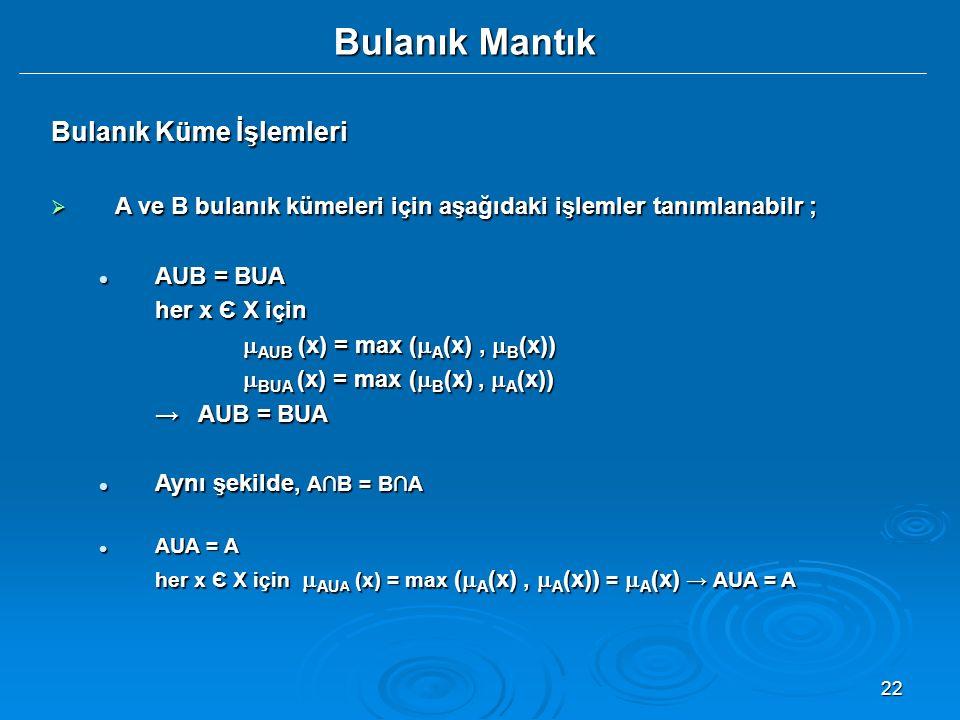 22 Bulanık Mantık Bulanık Küme İşlemleri  A ve B bulanık kümeleri için aşağıdaki işlemler tanımlanabilr ; AUB = BUA AUB = BUA her x Є X için  AUB (x