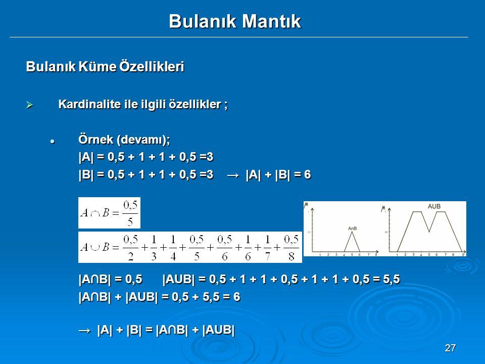 27 Bulanık Mantık Bulanık Küme Özellikleri  Kardinalite ile ilgili özellikler ; Örnek (devamı); Örnek (devamı); |A| = 0,5 + 1 + 1 + 0,5 =3 |B| = 0,5