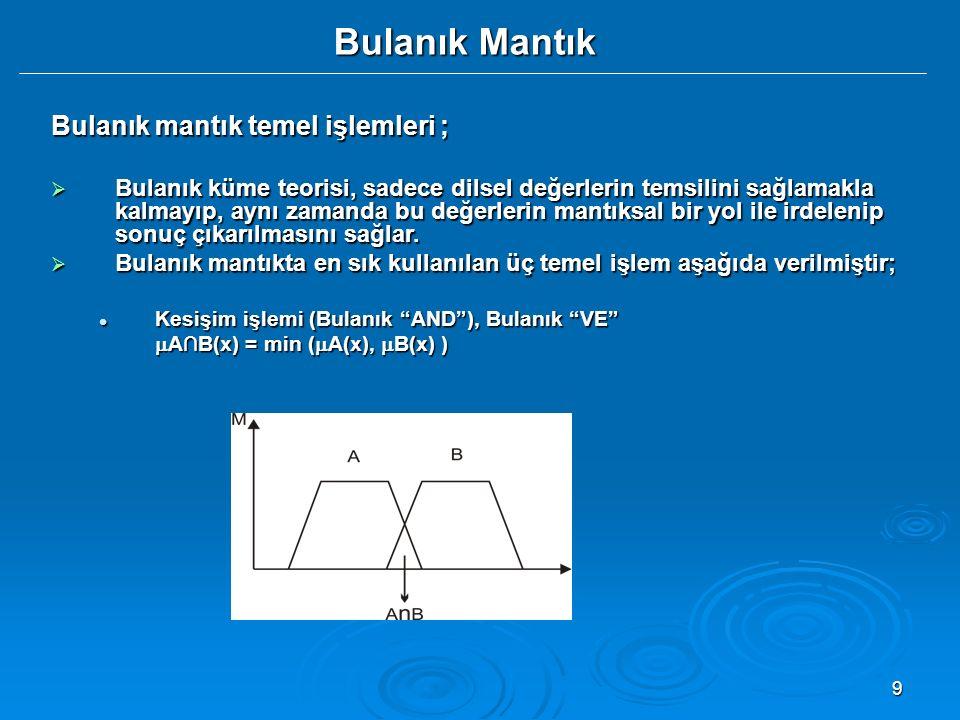 9 Bulanık Mantık Bulanık mantık temel işlemleri ;  Bulanık küme teorisi, sadece dilsel değerlerin temsilini sağlamakla kalmayıp, aynı zamanda bu değe