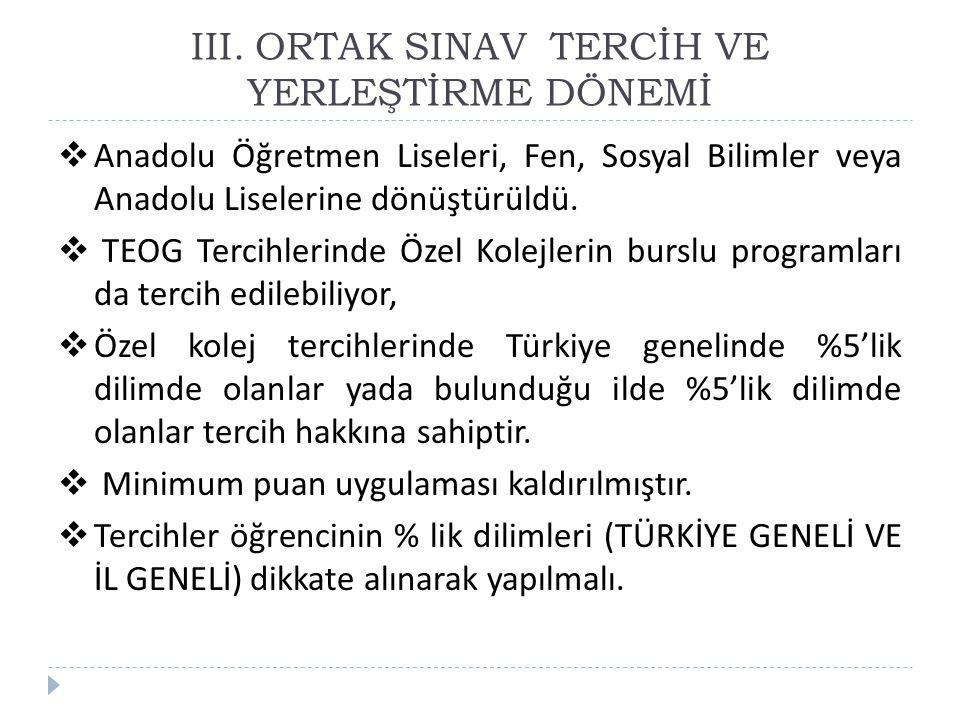 III. ORTAK SINAV TERCİH VE YERLEŞTİRME DÖNEMİ  Anadolu Öğretmen Liseleri, Fen, Sosyal Bilimler veya Anadolu Liselerine dönüştürüldü.  TEOG Tercihler