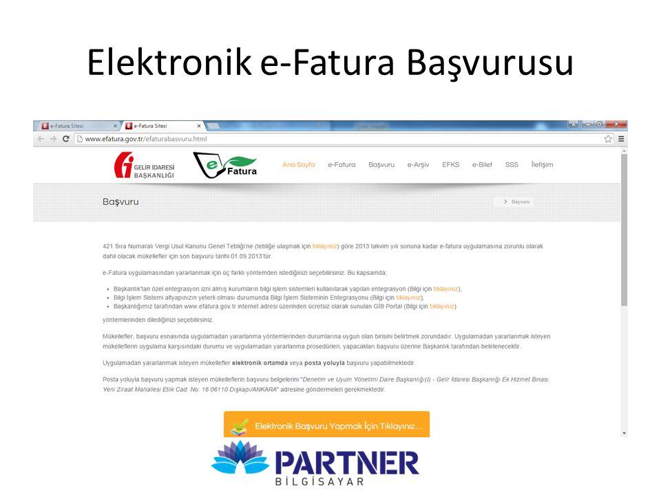 Elektronik e-Fatura Başvurusu