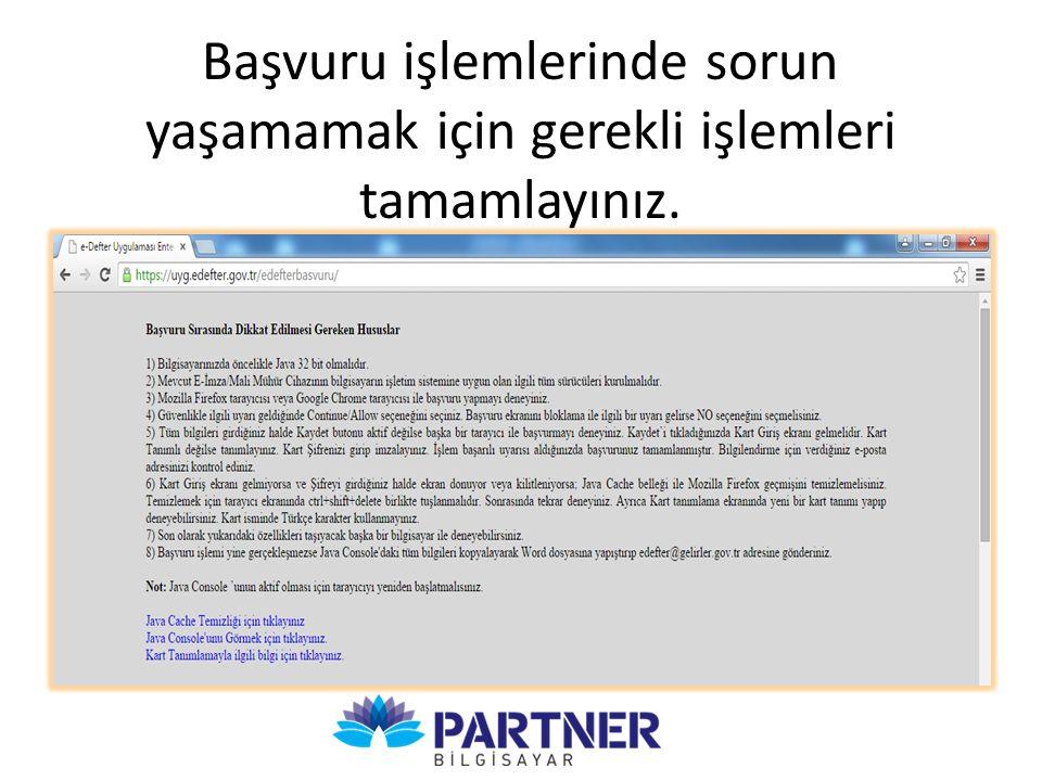 e-Defter Uygulamasına Başlangıç Tarihi alanı 01/01/2016 seçilmelidir.