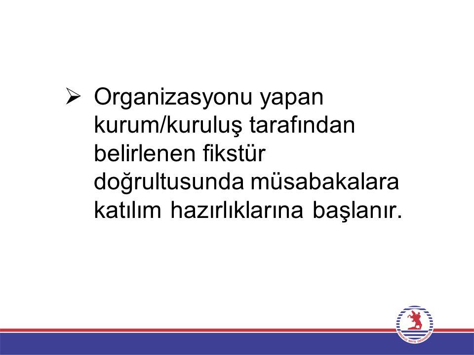  Organizasyonu yapan kurum/kuruluş tarafından belirlenen fikstür doğrultusunda müsabakalara katılım hazırlıklarına başlanır.