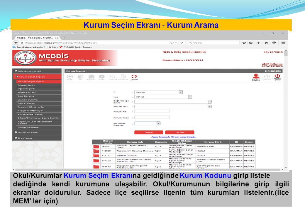 Kurum Seçim Ekranı - Kurum Arama Okul/Kurumlar Kurum Seçim Ekranına geldiğinde Kurum Kodunu girip listele dediğinde kendi kurumuna ulaşabilir. Okul/Ku