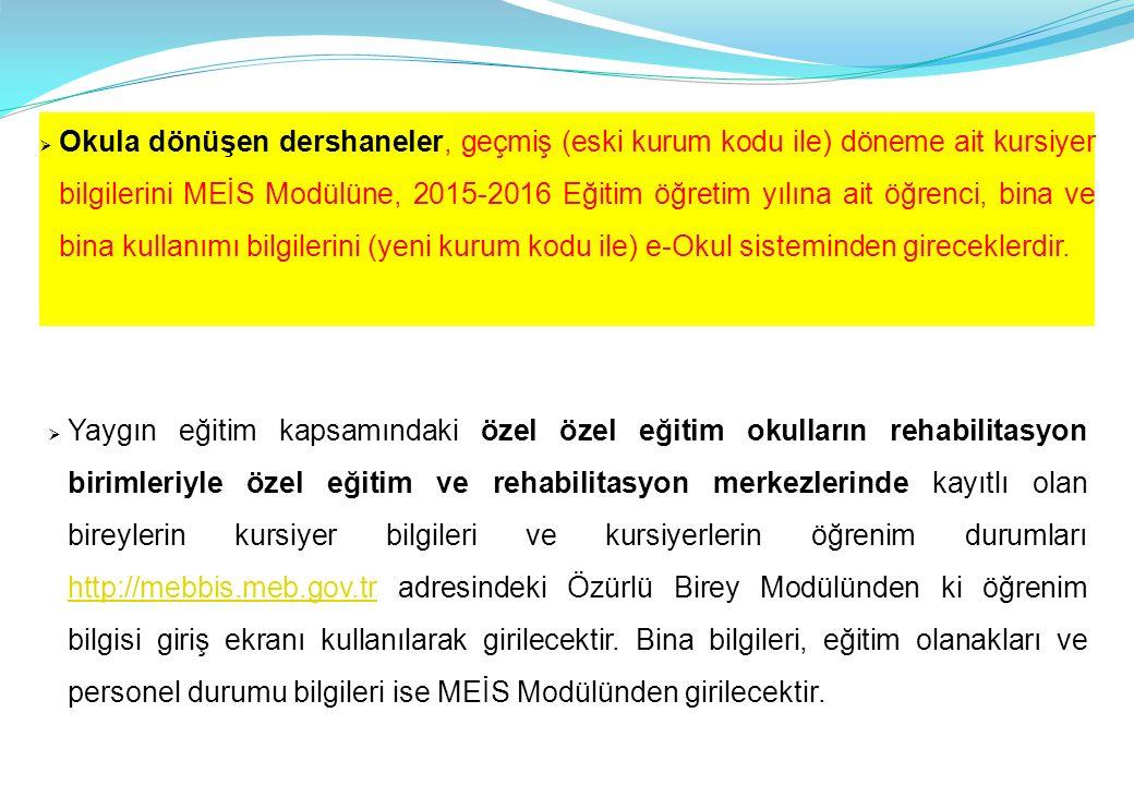 BİLİŞİM / BİLGİSAYAR (Meis Modülü) ÖZEL OKUL VE KURUMLAR DOLDURACAKTIR.