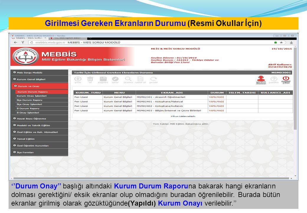 Girilmesi Gereken Ekranların Durumu (Resmi Okullar İçin) ''Durum Onay'' başlığı altındaki Kurum Durum Raporuna bakarak hangi ekranların dolması gerekt