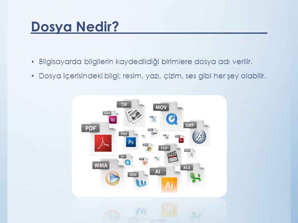 Bilgisayarda bilgilerin kaydedildiği birimlere dosya adı verilir. Dosya içerisindeki bilgi; resim, yazı, çizim, ses gibi her şey olabilir. Dosya Nedir