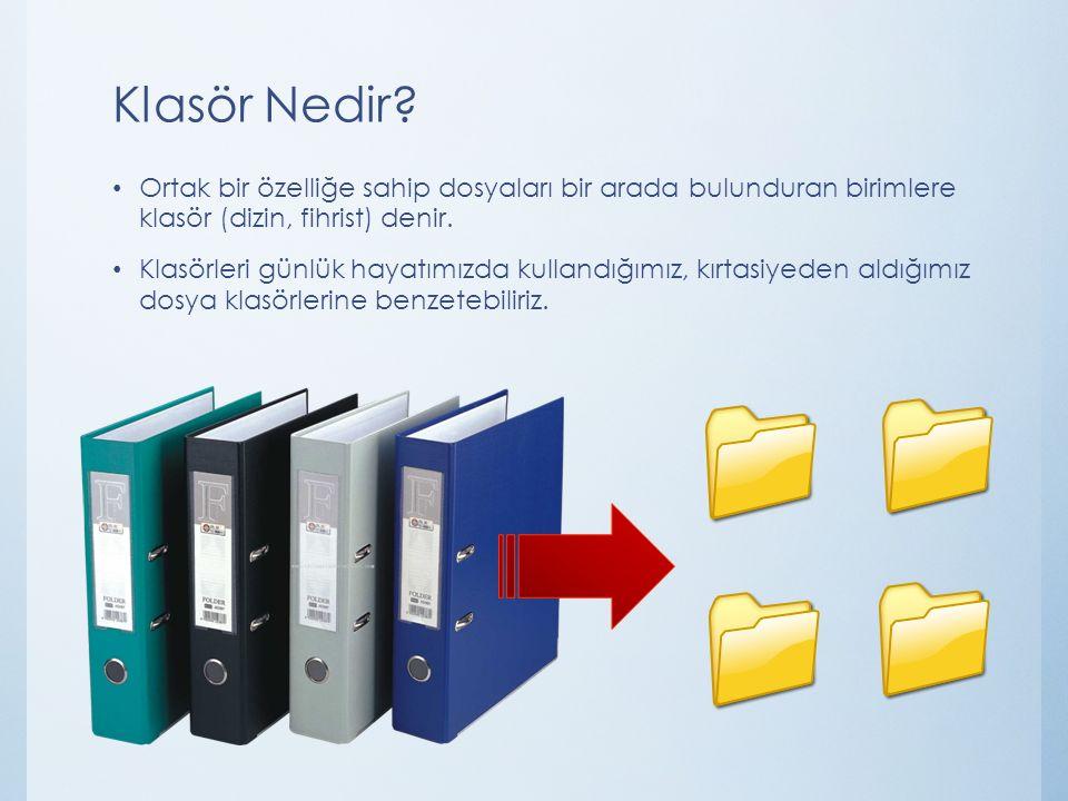 Klasör Nedir? Ortak bir özelliğe sahip dosyaları bir arada bulunduran birimlere klasör (dizin, fihrist) denir. Klasörleri günlük hayatımızda kullandığ