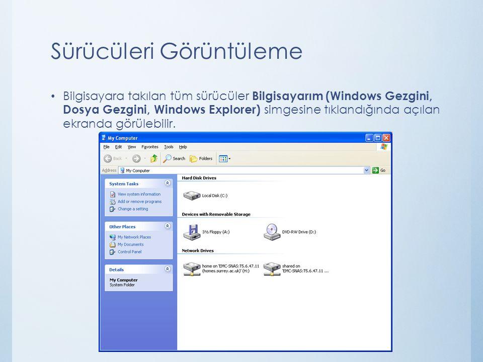 Sürücüleri Görüntüleme Bilgisayara takılan tüm sürücüler Bilgisayarım (Windows Gezgini, Dosya Gezgini, Windows Explorer) simgesine tıklandığında açıla