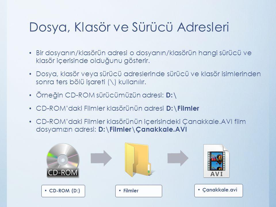 Dosya, Klasör ve Sürücü Adresleri Bir dosyanın/klasörün adresi o dosyanın/klasörün hangi sürücü ve klasör içerisinde olduğunu gösterir. Dosya, klasör