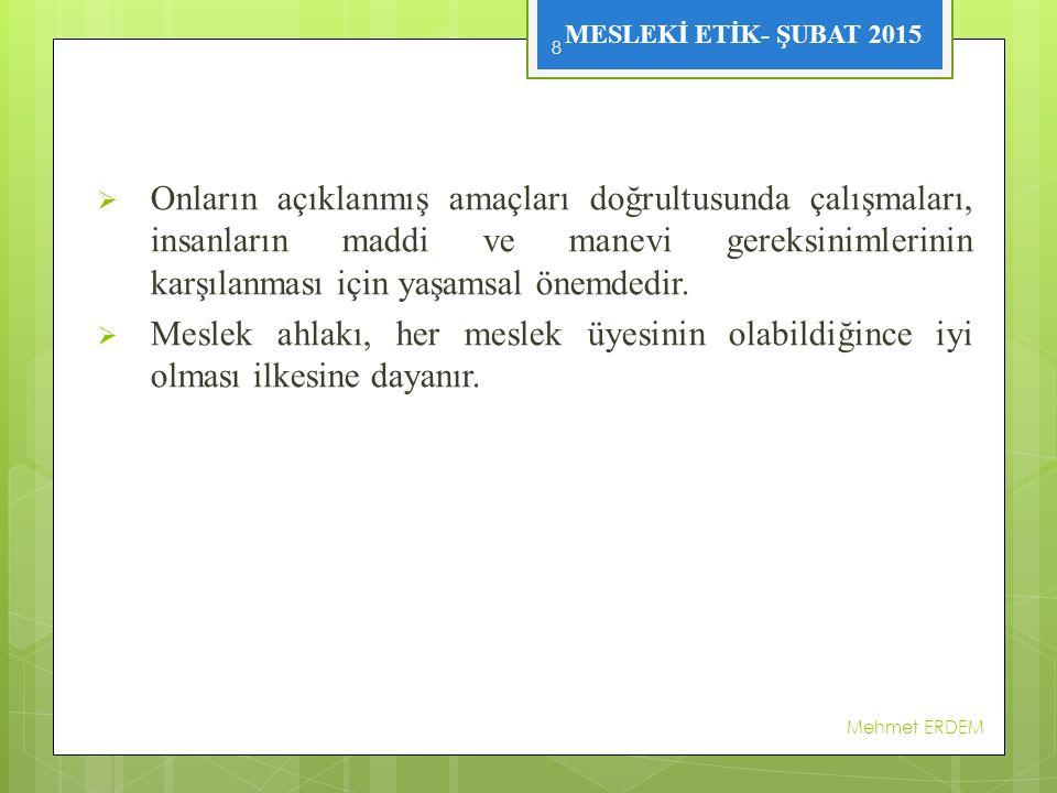 MESLEKİ ETİK- ŞUBAT 2015 2.2.4.