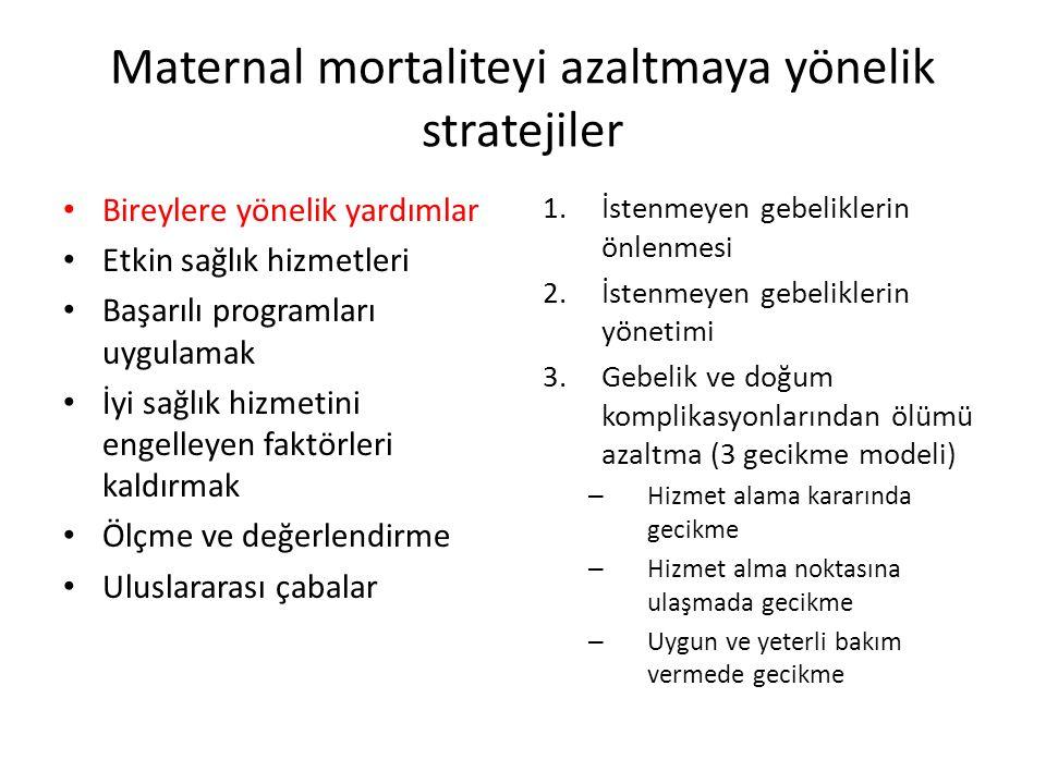 Maternal mortaliteyi azaltmaya yönelik stratejiler Bireylere yönelik yardımlar Etkin sağlık hizmetleri Başarılı programları uygulamak İyi sağlık hizmetini engelleyen faktörleri kaldırmak Ölçme ve değerlendirme Uluslararası çabalar 1.İstenmeyen gebeliklerin önlenmesi 2.İstenmeyen gebeliklerin yönetimi 3.Gebelik ve doğum komplikasyonlarından ölümü azaltma (3 gecikme modeli) – Hizmet alama kararında gecikme – Hizmet alma noktasına ulaşmada gecikme – Uygun ve yeterli bakım vermede gecikme