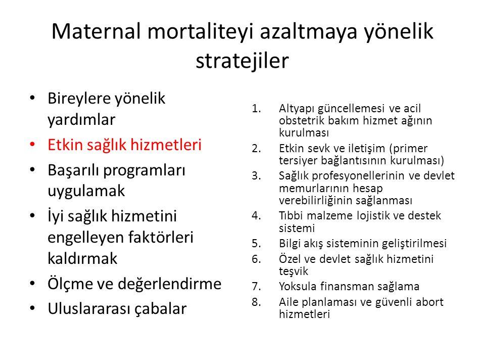 Maternal mortaliteyi azaltmaya yönelik stratejiler Bireylere yönelik yardımlar Etkin sağlık hizmetleri Başarılı programları uygulamak İyi sağlık hizmetini engelleyen faktörleri kaldırmak Ölçme ve değerlendirme Uluslararası çabalar 1.Altyapı güncellemesi ve acil obstetrik bakım hizmet ağının kurulması 2.Etkin sevk ve iletişim (primer tersiyer bağlantısının kurulması) 3.Sağlık profesyonellerinin ve devlet memurlarının hesap verebilirliğinin sağlanması 4.Tıbbi malzeme lojistik ve destek sistemi 5.Bilgi akış sisteminin geliştirilmesi 6.Özel ve devlet sağlık hizmetini teşvik 7.Yoksula finansman sağlama 8.Aile planlaması ve güvenli abort hizmetleri