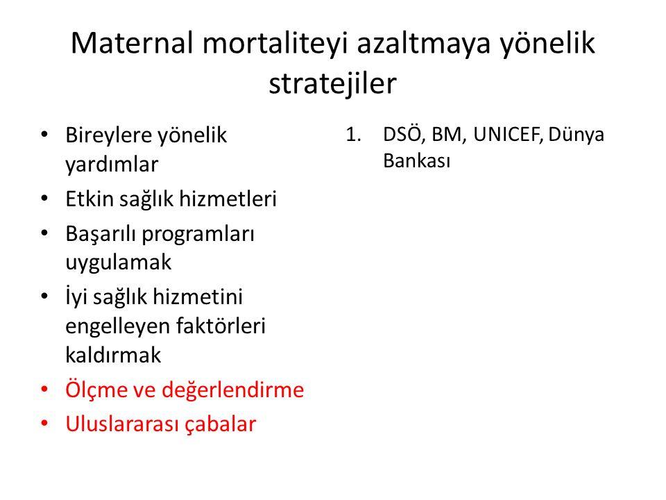Maternal mortaliteyi azaltmaya yönelik stratejiler Bireylere yönelik yardımlar Etkin sağlık hizmetleri Başarılı programları uygulamak İyi sağlık hizmetini engelleyen faktörleri kaldırmak Ölçme ve değerlendirme Uluslararası çabalar 1.DSÖ, BM, UNICEF, Dünya Bankası