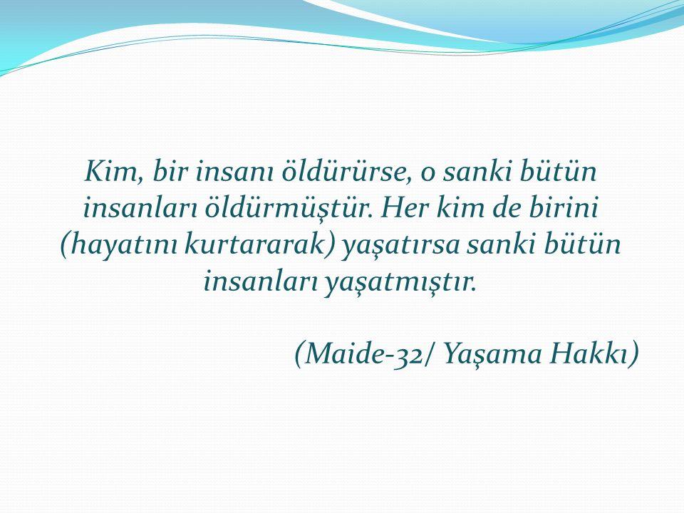 """İslâm'da İnsan Hakları konusunda fikir vermek üzere Efendimiz 'in(S.A.V.) Veda Hutbesi'nde söyledikleri son derece önemlidir Yaşama Hakkı: """"Cahiliye d"""