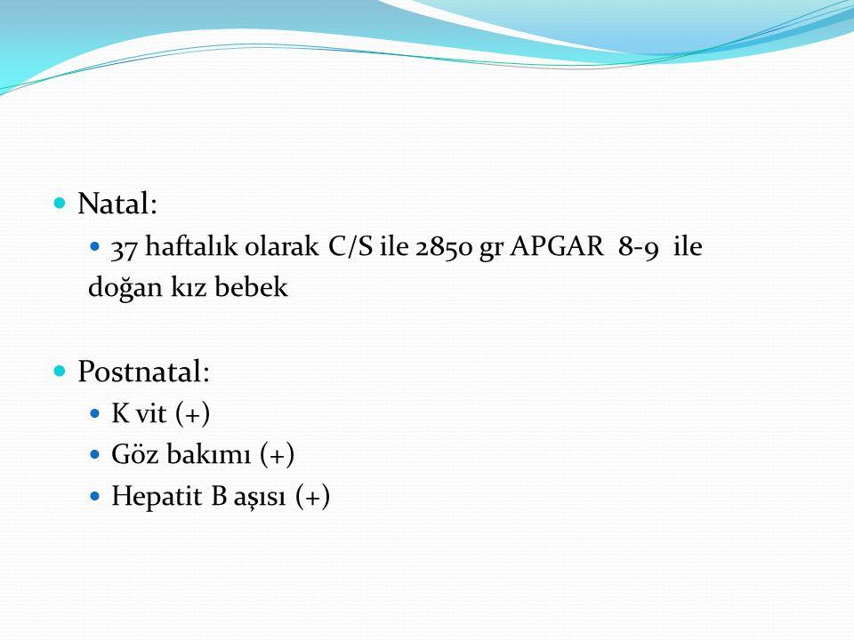Natal: 37 haftalık olarak C/S ile 2850 gr APGAR 8-9 ile doğan kız bebek Postnatal: K vit (+) Göz bakımı (+) Hepatit B aşısı (+)
