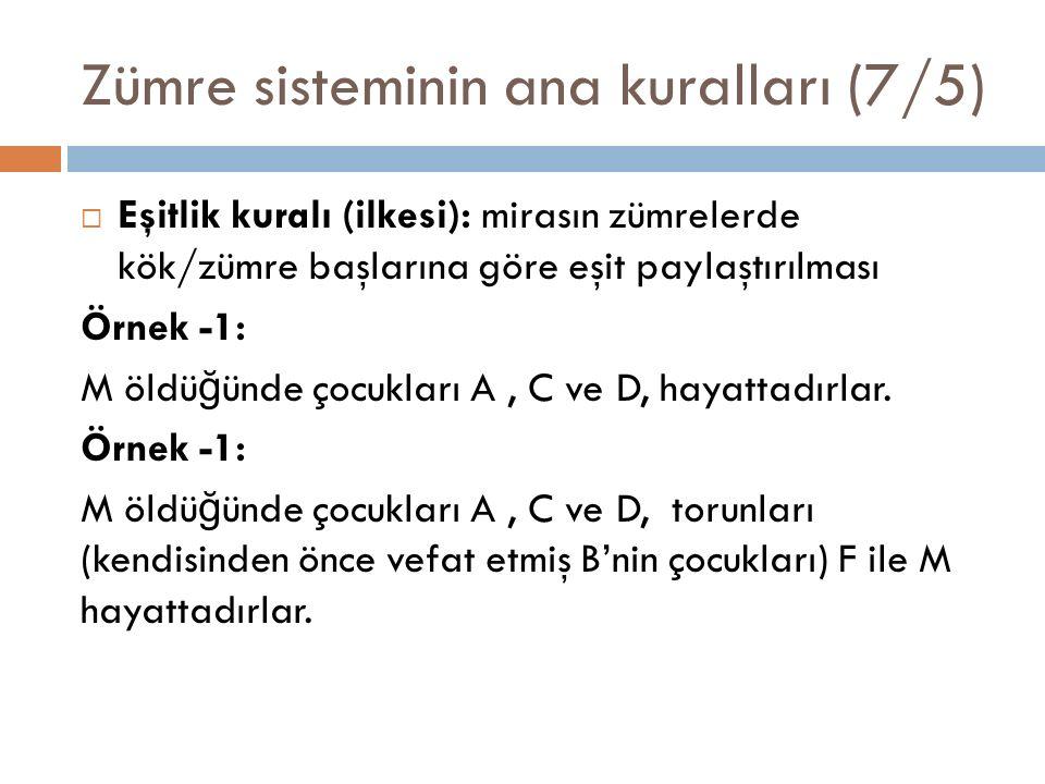 Zümre sisteminin ana kuralları (7/5)  Eşitlik kuralı (ilkesi): mirasın zümrelerde kök/zümre başlarına göre eşit paylaştırılması Örnek -1: M öldü ğ ünde çocukları A, C ve D, hayattadırlar.