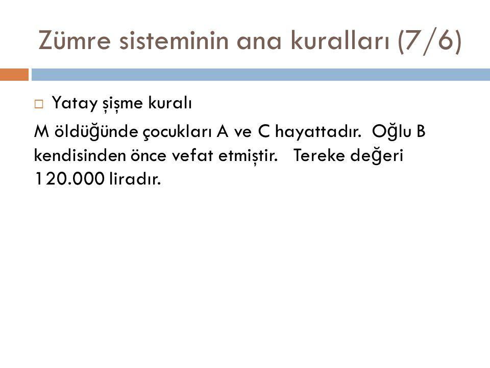 Zümre sisteminin ana kuralları (7/6)  Yatay şişme kuralı M öldü ğ ünde çocukları A ve C hayattadır.