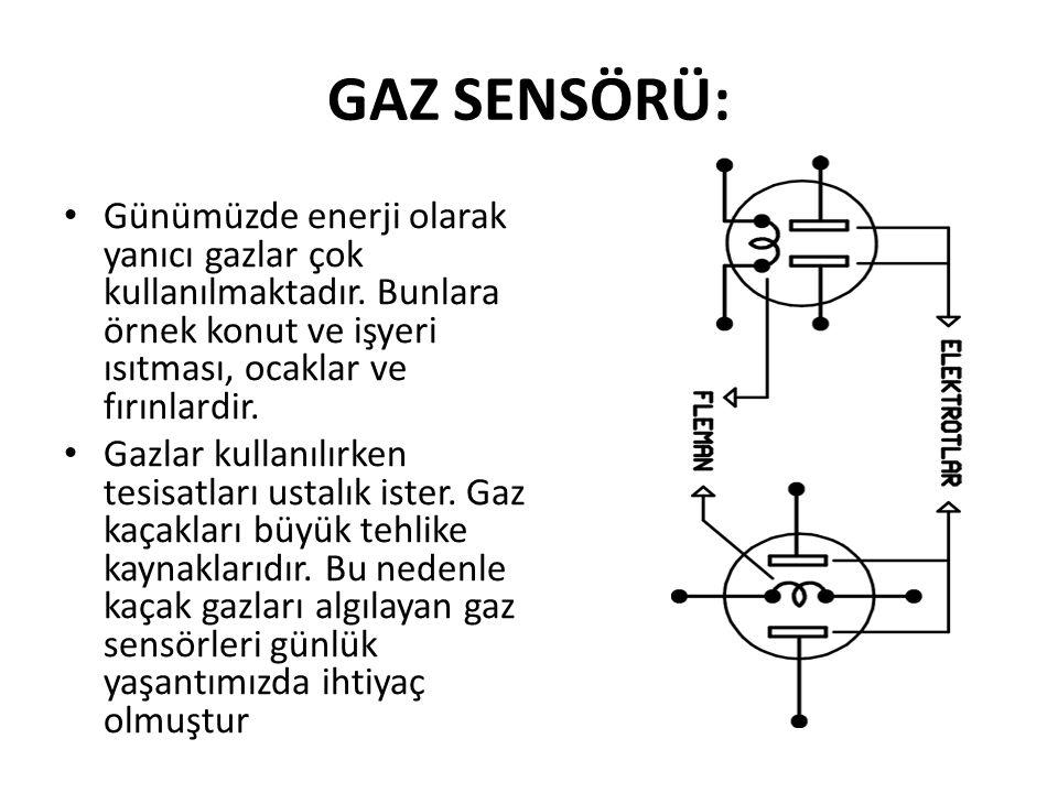GAZ SENSÖRÜ: Günümüzde enerji olarak yanıcı gazlar çok kullanılmaktadır.
