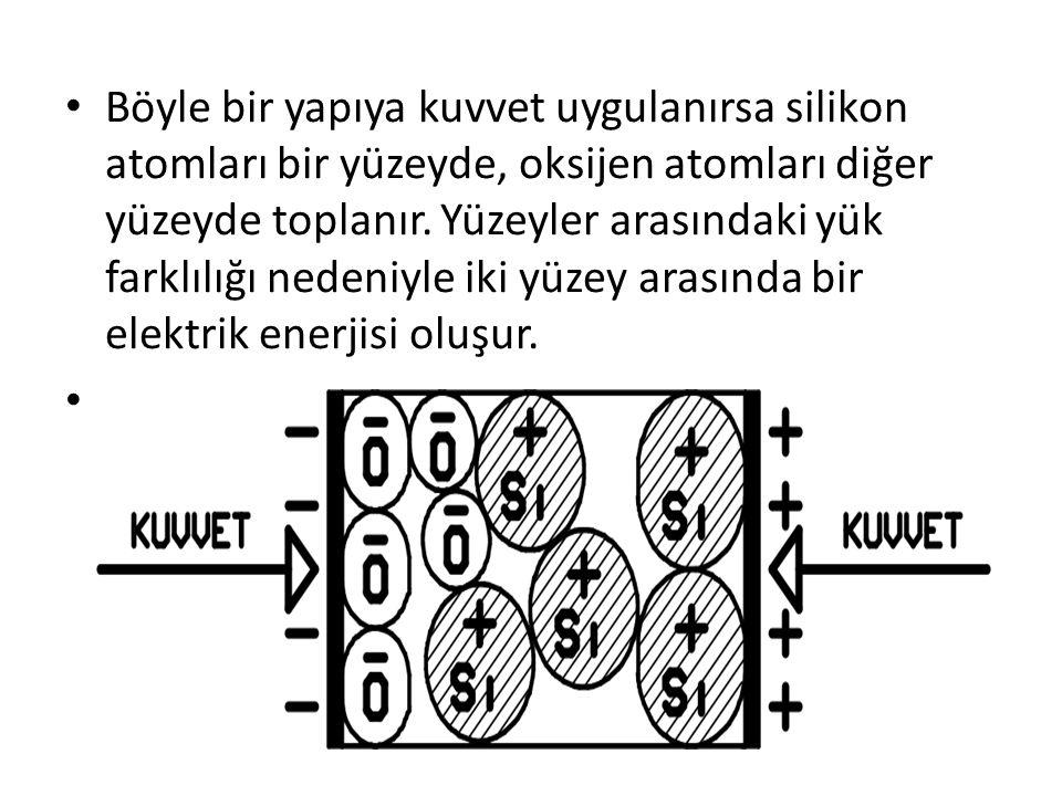 Böyle bir yapıya kuvvet uygulanırsa silikon atomları bir yüzeyde, oksijen atomları diğer yüzeyde toplanır.