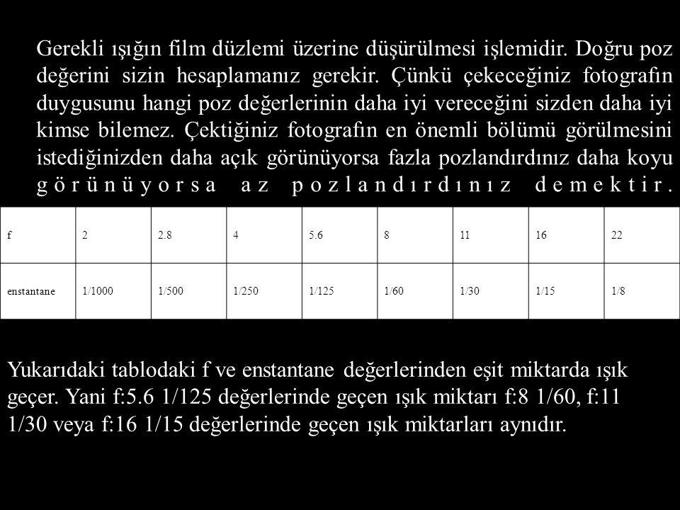 ENSTANTENE Fotoğraf makinesinin, saniyelerle ve saniyenin kesirleriyle işaretlenmiş bir kadranla kontrol edilen enstantane ayarı, diyafram açıklığı ile birlikte film üzerine ne kadar ışık düşeceğini belirler.