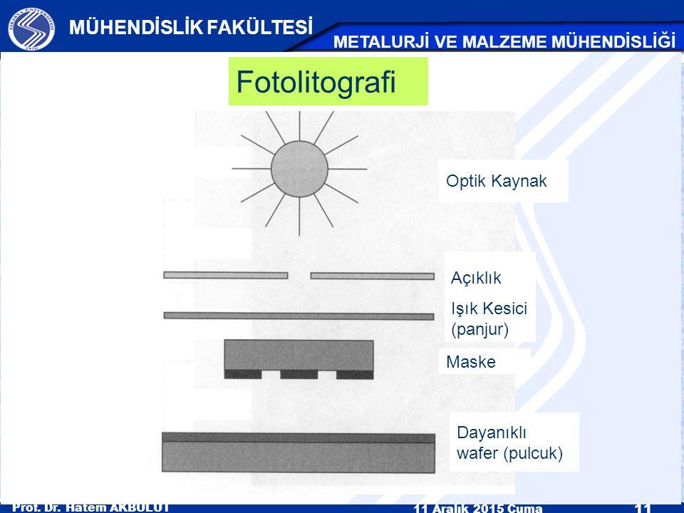 Prof. Dr. Hatem AKBULUT 11 Aralık 2015 Cuma 11 MÜHENDİSLİK FAKÜLTESİ METALURJİ VE MALZEME MÜHENDİSLİĞİ Fotolitografi Optik Kaynak Açıklık Işık Kesici