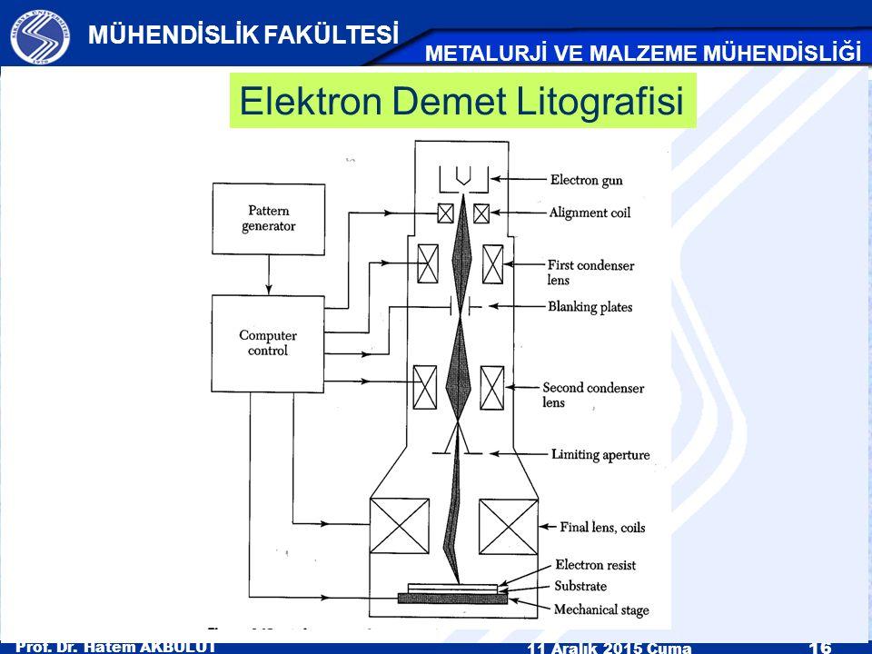 Prof. Dr. Hatem AKBULUT 11 Aralık 2015 Cuma 16 MÜHENDİSLİK FAKÜLTESİ METALURJİ VE MALZEME MÜHENDİSLİĞİ Elektron Demet Litografisi