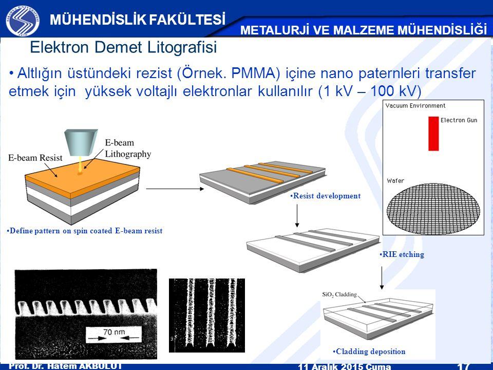 Prof. Dr. Hatem AKBULUT 11 Aralık 2015 Cuma 17 MÜHENDİSLİK FAKÜLTESİ METALURJİ VE MALZEME MÜHENDİSLİĞİ Elektron Demet Litografisi Define pattern on sp