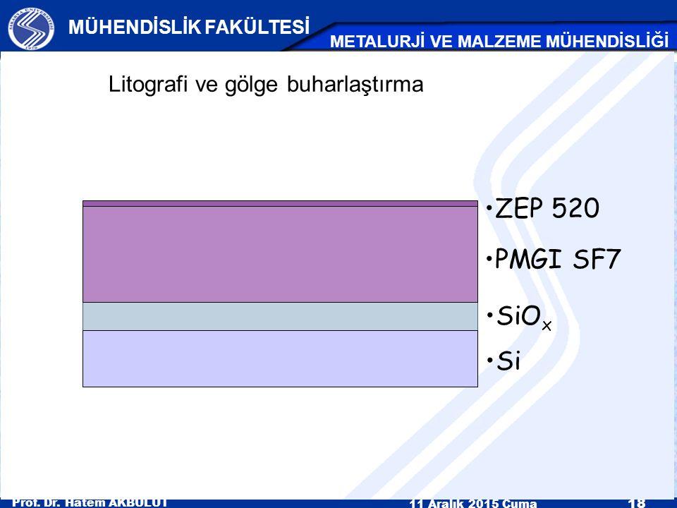 Prof. Dr. Hatem AKBULUT 11 Aralık 2015 Cuma 18 MÜHENDİSLİK FAKÜLTESİ METALURJİ VE MALZEME MÜHENDİSLİĞİ Litografi ve gölge buharlaştırma ZEP 520 PMGI S