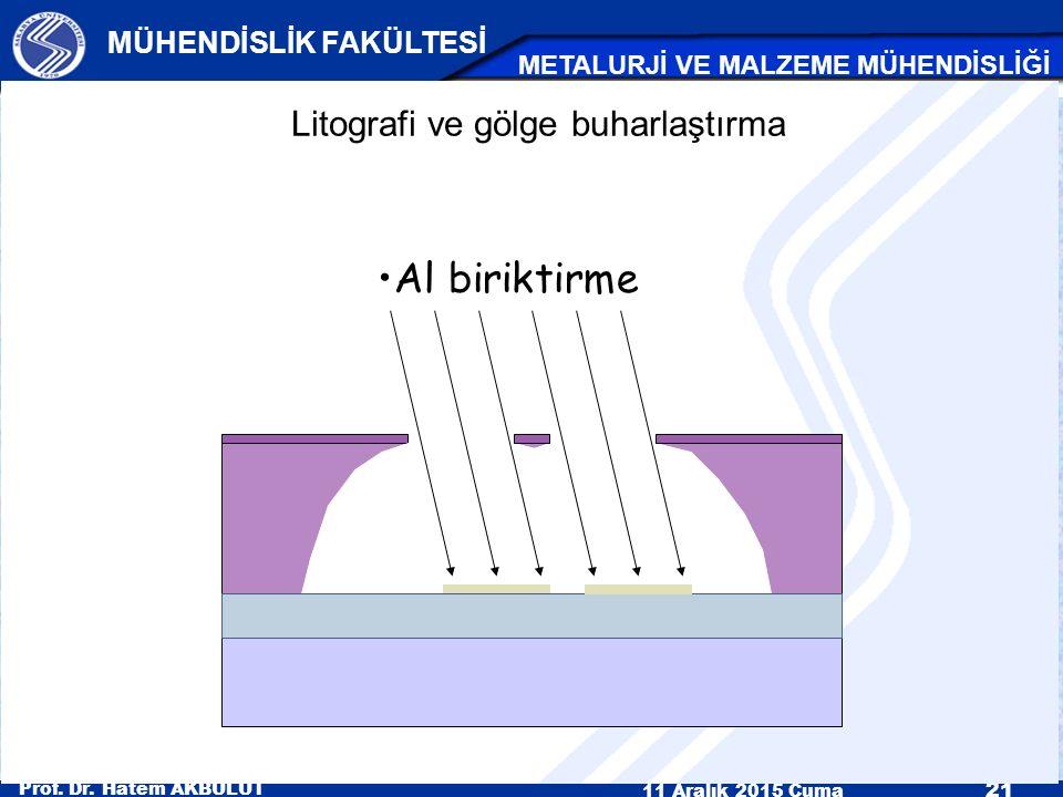 Prof. Dr. Hatem AKBULUT 11 Aralık 2015 Cuma 21 MÜHENDİSLİK FAKÜLTESİ METALURJİ VE MALZEME MÜHENDİSLİĞİ Al biriktirme Litografi ve gölge buharlaştırma